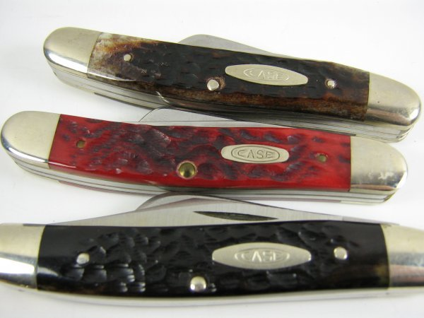 3 CASE XX FOLDING KNIFE LOT RED BONE STAG 6347 631