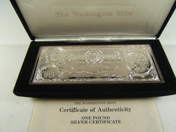 WASHINGTON MINT 1LB SILVER BULLION BAR .999 16 OZ