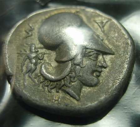 GREEK SILVER STATER ATHENA PEGASUS FLYING VF