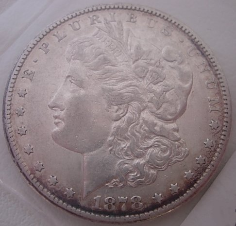 1878-CC US MORGAN SILVER DOLLAR AU CARSON CITY