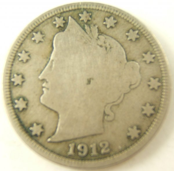 1912-S V NICKEL LIBERTY HEAD VG KEY DATE