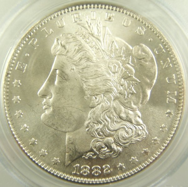 1882-S MORGAN SILVER DOLLAR MS-65 PCGS GREEN SLAB