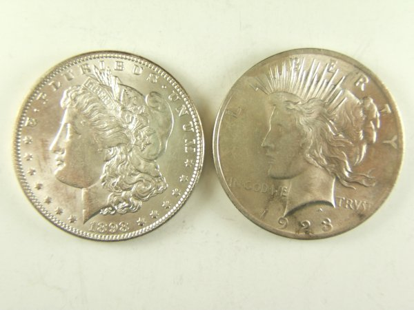 1923 BU PEACE & 1898 MORGAN SILVER DOLLAR AU+