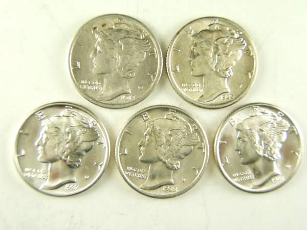 MERCURY DIME LOT OF 5 AU - BU WITH FULL BANDS