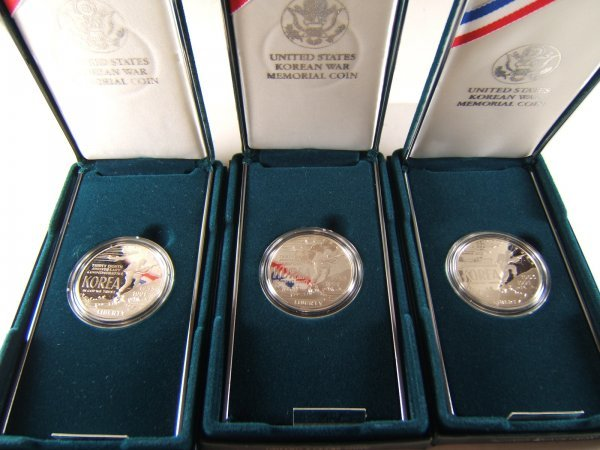 1991 KOREAN WAR PROOF SILVER DOLLAR LOT OF 3