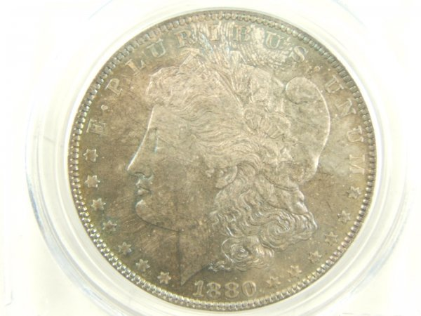 1880 MORGAN SILVER DOLLAR MS66 PCGS RAINBOW