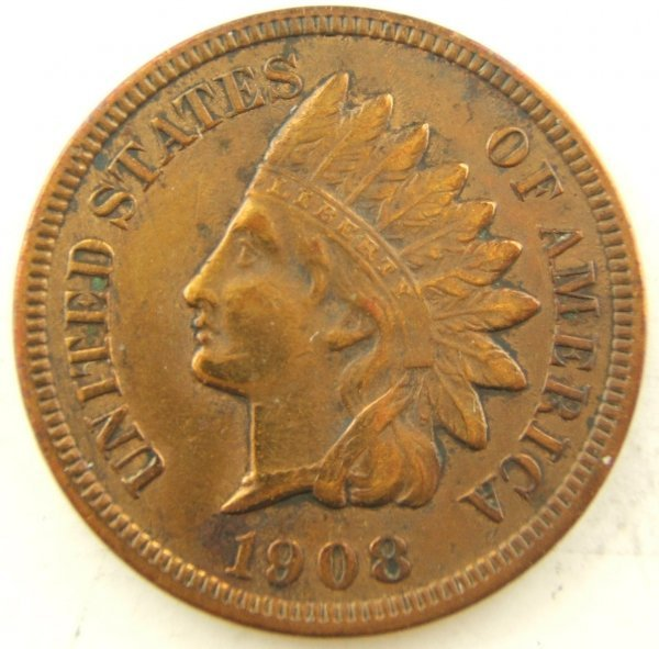 1908-S INDIAN HEAD CENT VF - XF KEY DATE