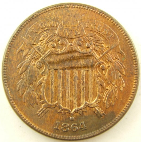 1864 TWO CENT PIECE MS 63 OR BETTER