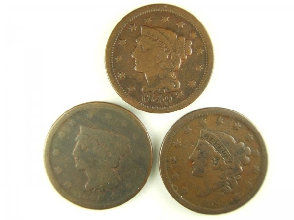 LARGE CENT LOT OF 3, 1838, 1841, 1849 G - F