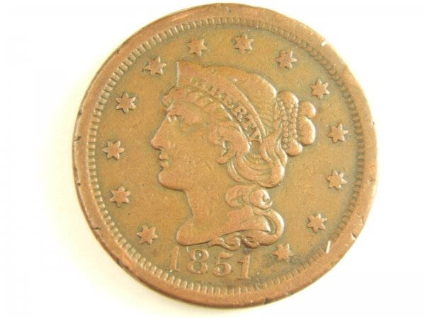 1851 LARGE CENT FINE N-13 DIE STATE C