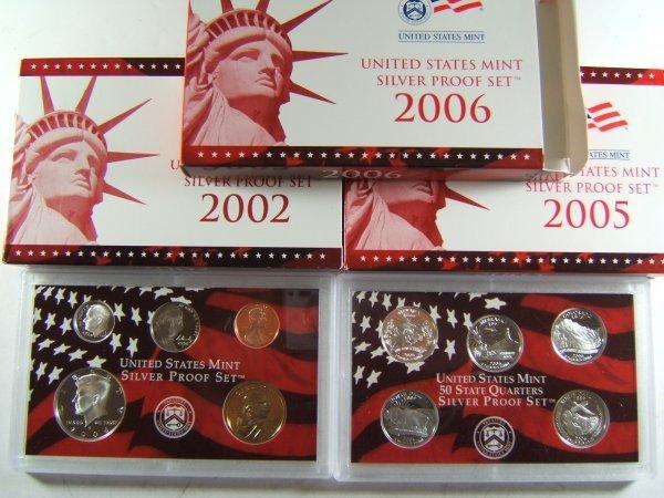 US MINT SILVER PROOF SET LOT OF 3 2002 - 2006