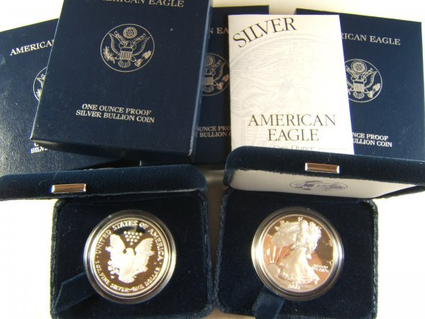 US MINT SILVER EAGLE PROOF LOT OF 6, 2001 - 2006