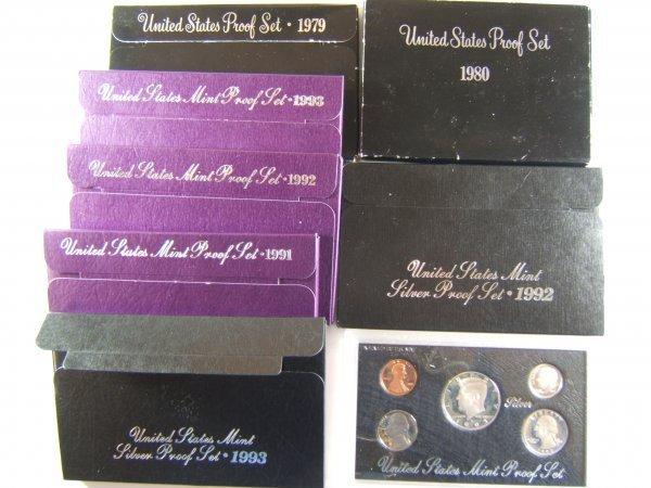 US MINT SILVER/CLAD PROOF SET LOT OF 7 1979 - 1993