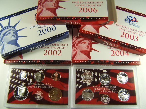 2000 - 2006 US MINT PROOF SET LOT OF 5 WITH SILVER