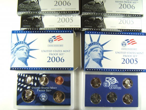 US MINT 2005-2006 PROOF SILVER/CLAD SETS LOT OF 6