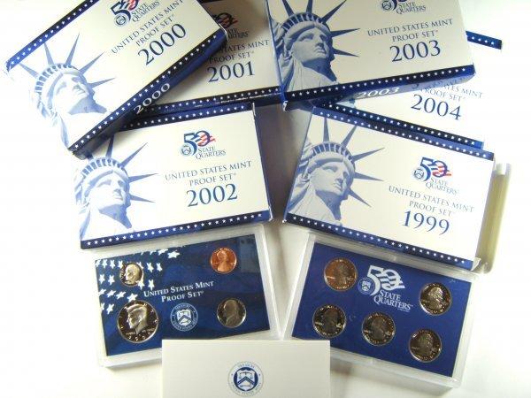 US MINT PROOF CLAD LOT OF 6 DATE RUN 1999-2004