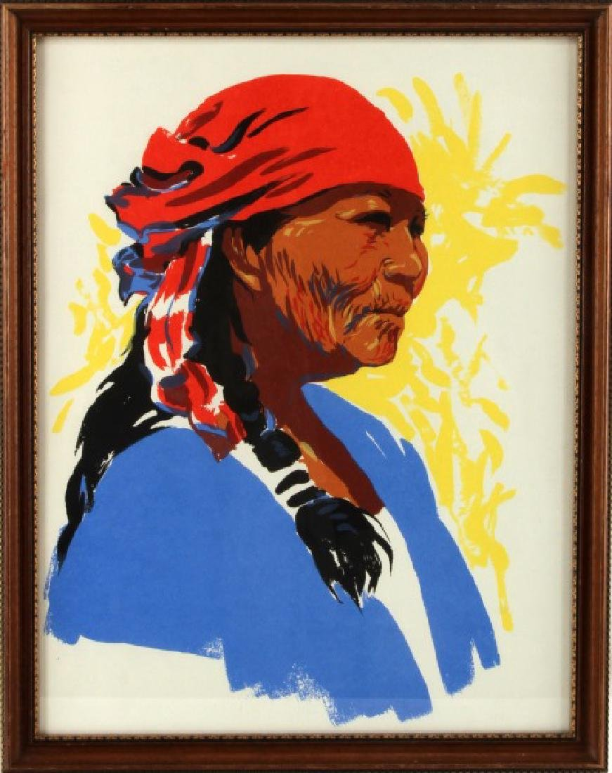 NATIVE AMERICAN CHROMOLITHOGRAPH ELDER WOMAN