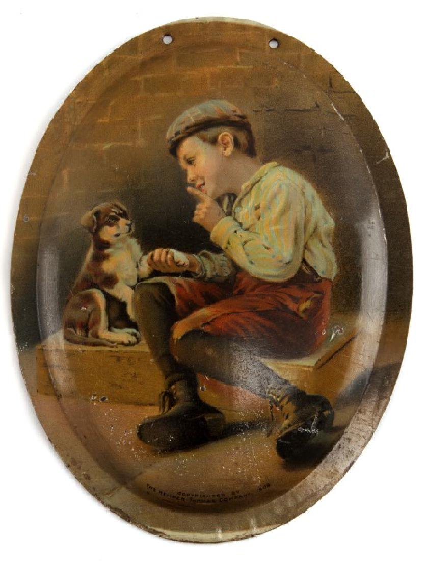 1908 KEMPER THOMAS ADVERTISING TIN BOY WITH DOG