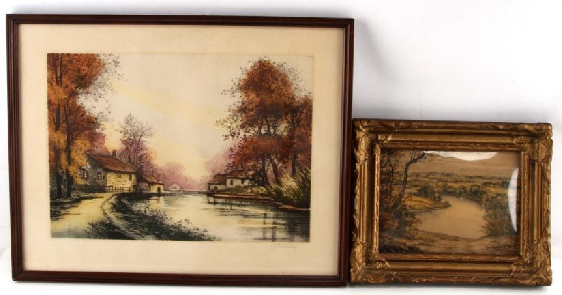 VINTAGE LANDSCAPE PAINTING & COLOR ETCHING LOT