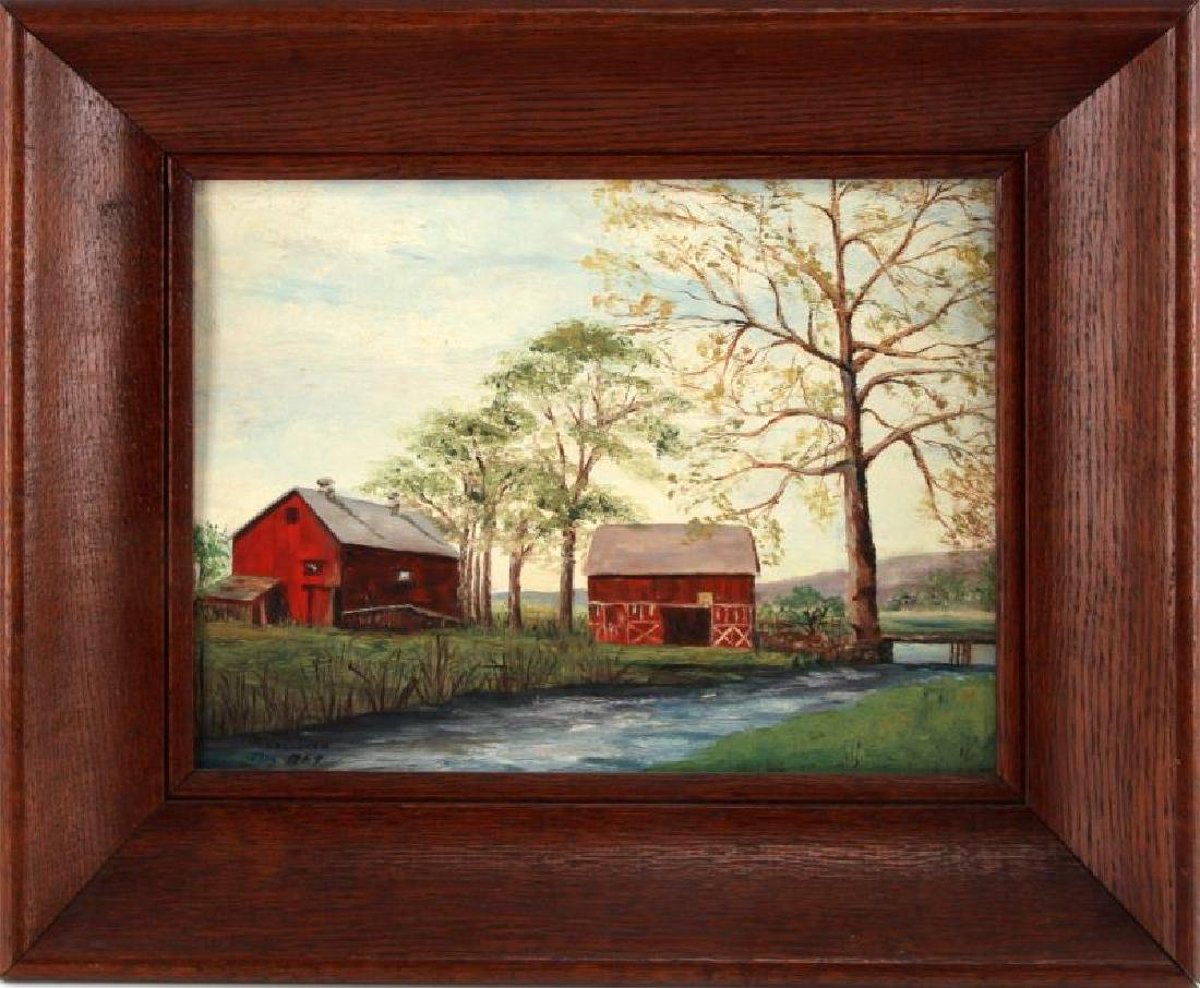 WASHBURN FARM LANDSCAPE W RED BARN OIL PAINTING