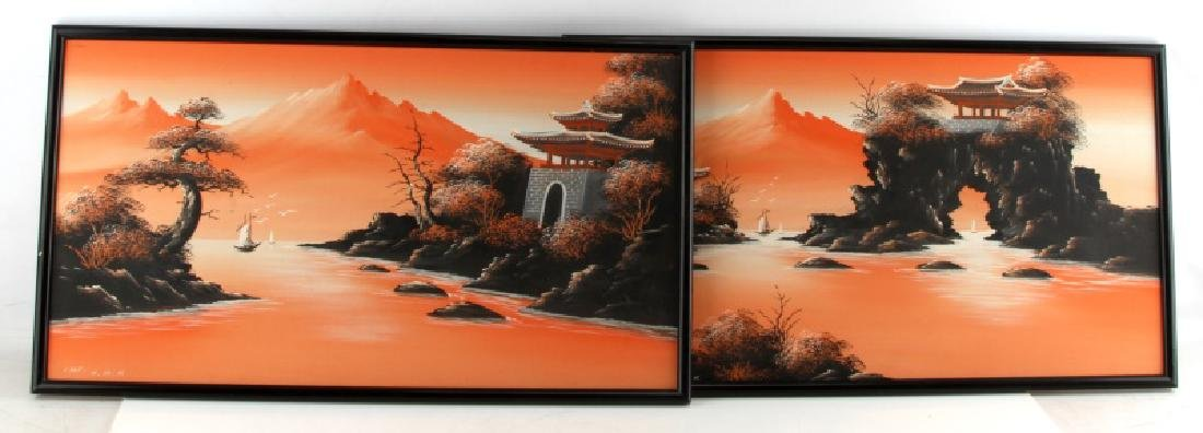 TRADITIONAL JAPANESE LANDSCAPE DIPTYCH PAINTING