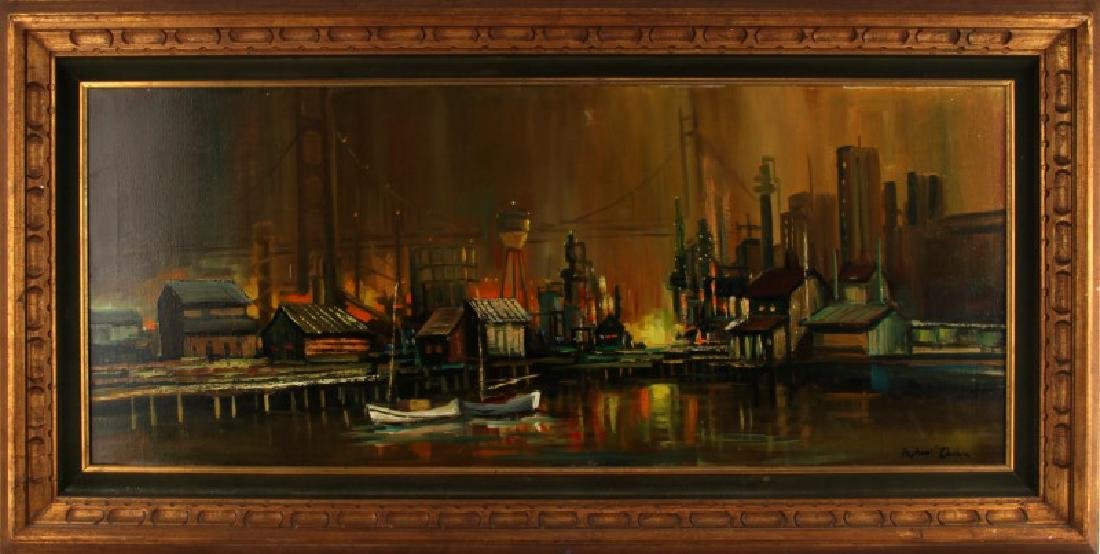 MID CENTURY WATERFRONT CITYSCAPE OIL PAINTING