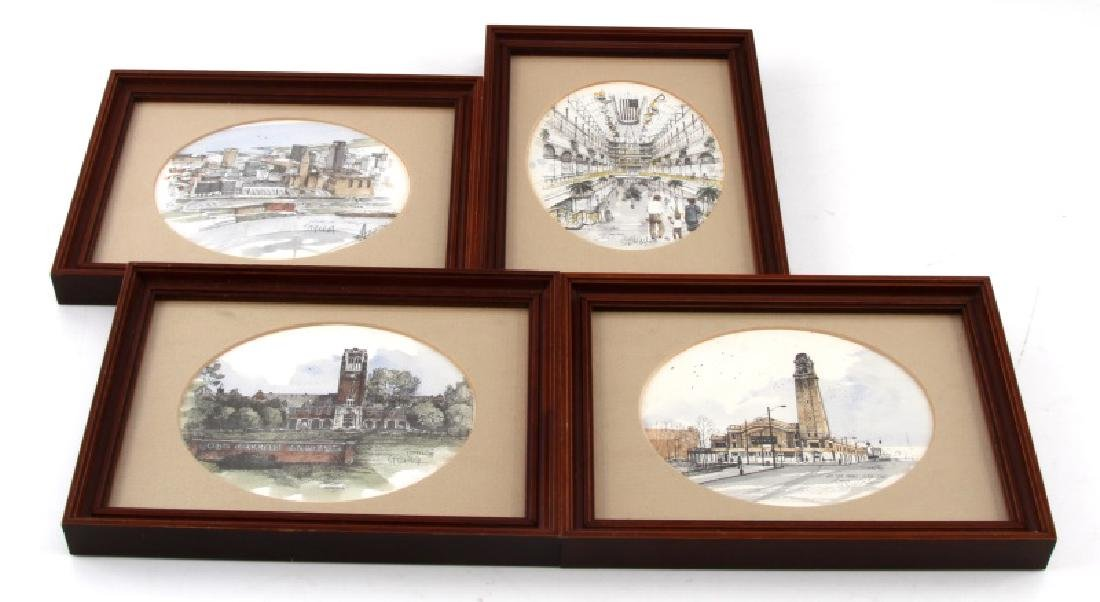LOT OF 4 FRAMED SIGNED WATERCOLOR PRINTS BY STRUNA