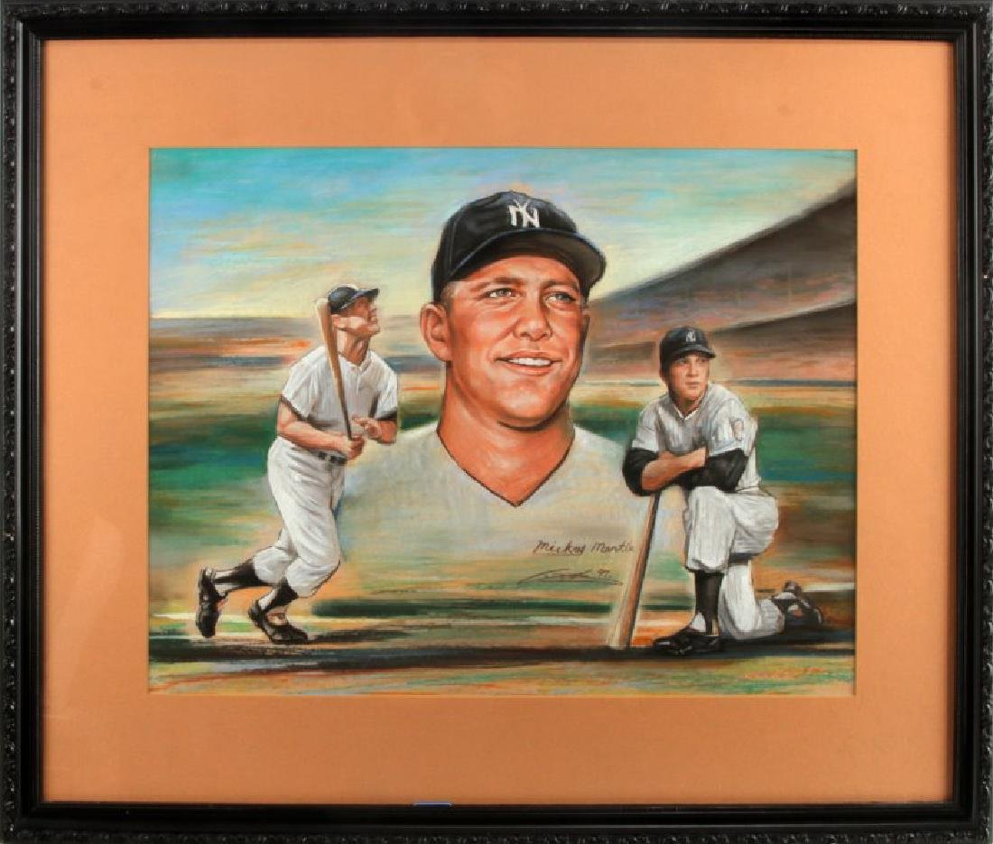 MICKEY MANTLE OIL PASTEL PICTURE SIGNED ZHENG LI