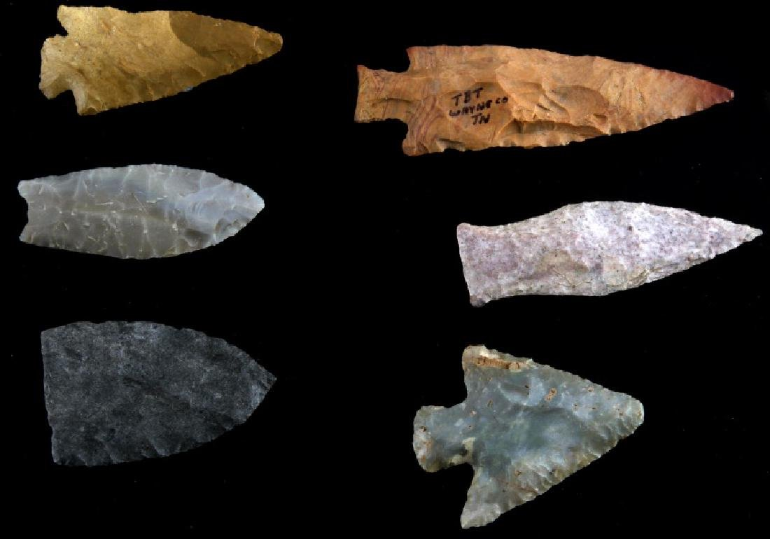 LOT OF 6 ARROWHEAD POINTS PALEO TO WOODLAND
