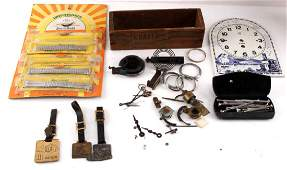 COLLECTION OF ANTIQUE WATCH  CLOCK PARTS  FOBS