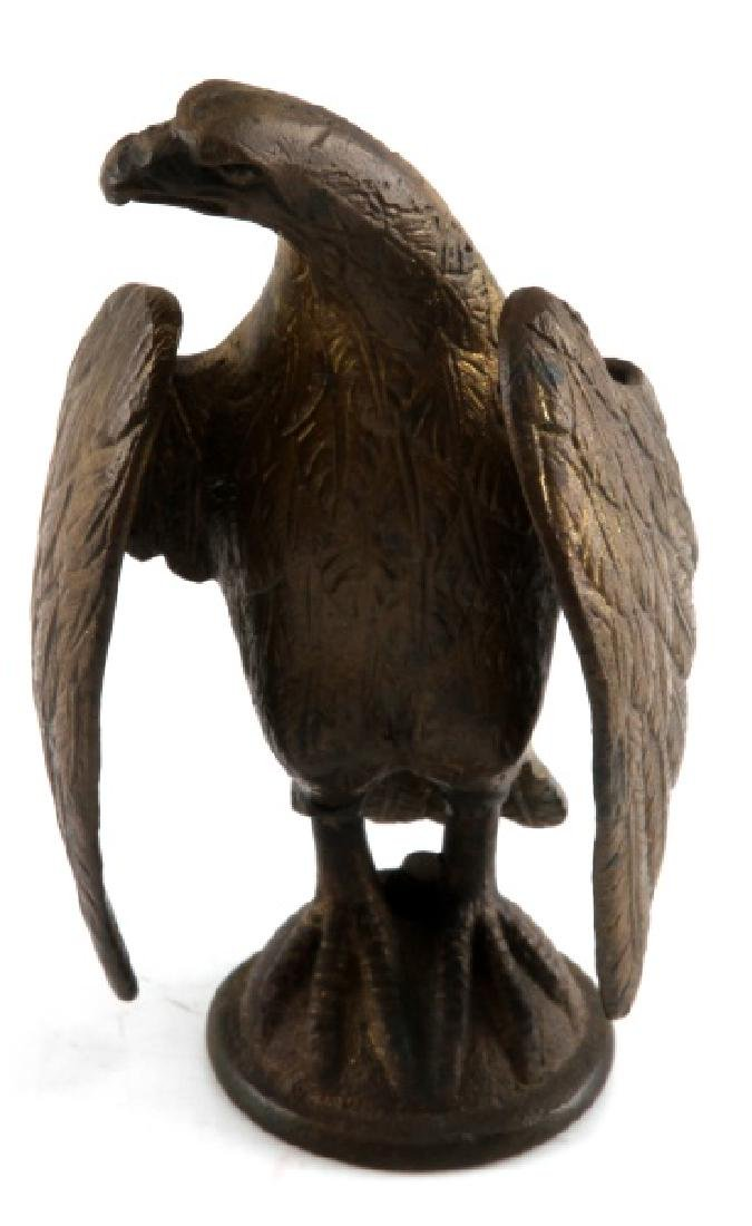 19TH CENTURY BRASS FLAG FINIAL TOPPER