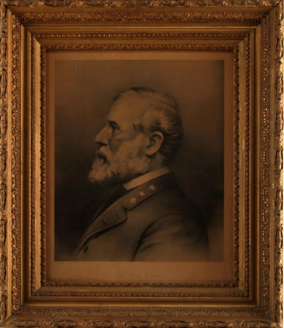 19TH CENTURY PORTRAIT OF ROBERT E LEE LITHOGRAPH