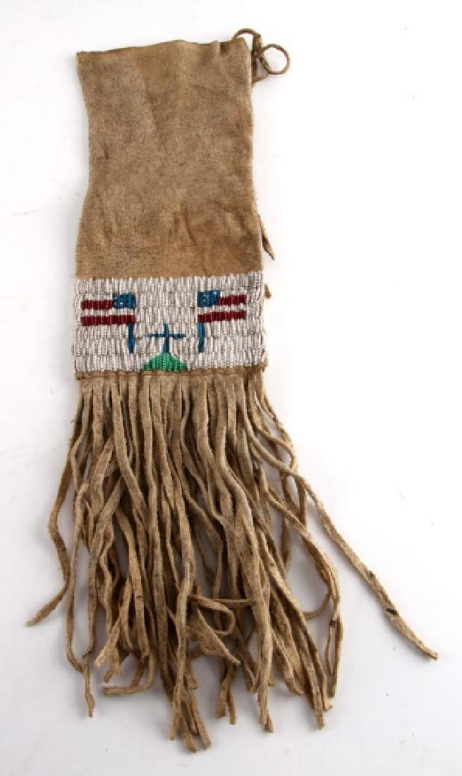 NATIVE NORTHERN PLAINS INDIAN BEADED TOBACCO BAG