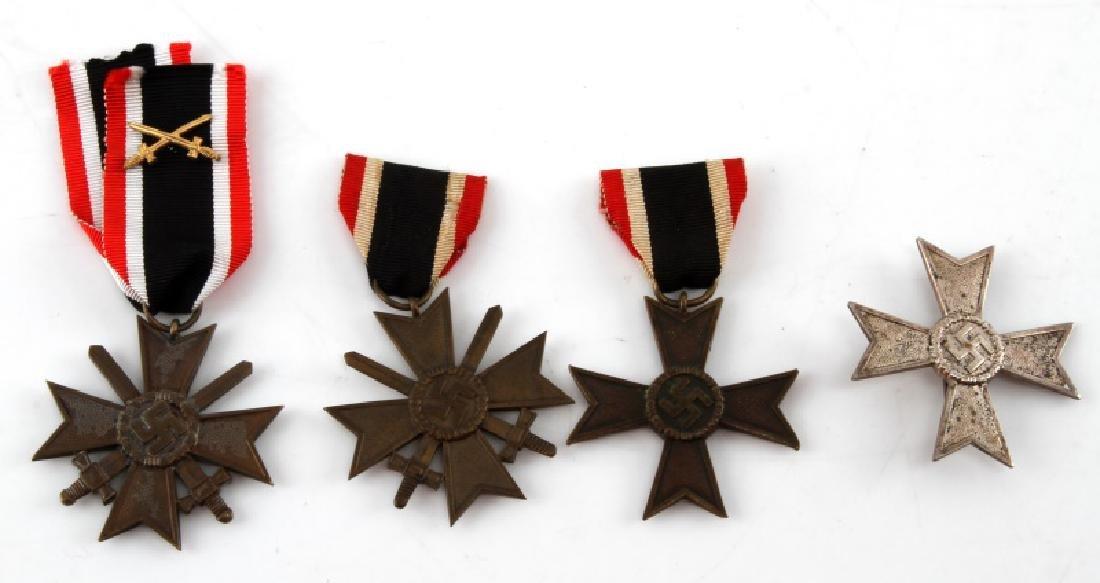 4 GERMAN WWII WAR MERIT CROSS LOT BRONZE SILVER