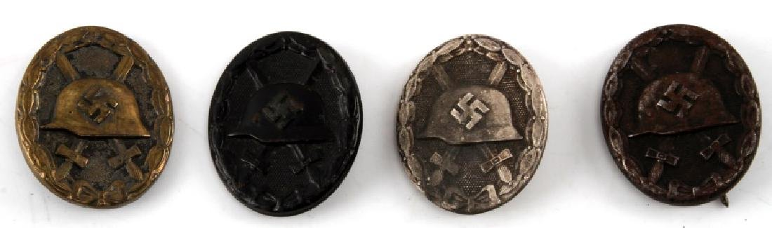 WWII GERMAN THIRD REICH WOUND BADGE LOT OF FOUR