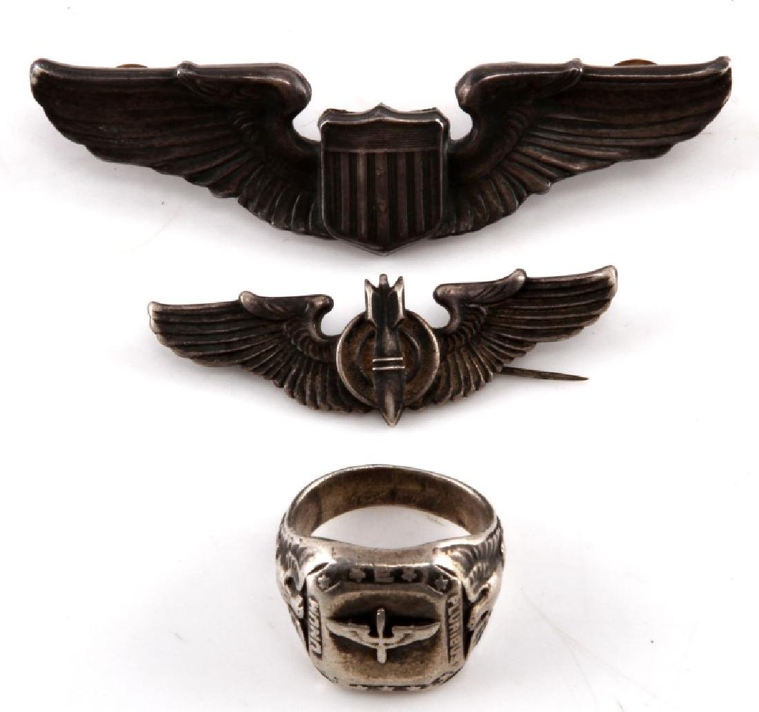 WWII ARMY AIR CORP AAC STERLING WINGS & RING LOT