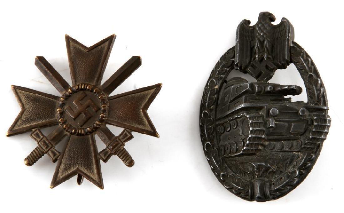 WWII GERMAN PANZER ASSAULT BADGE & WAR MERIT CROSS