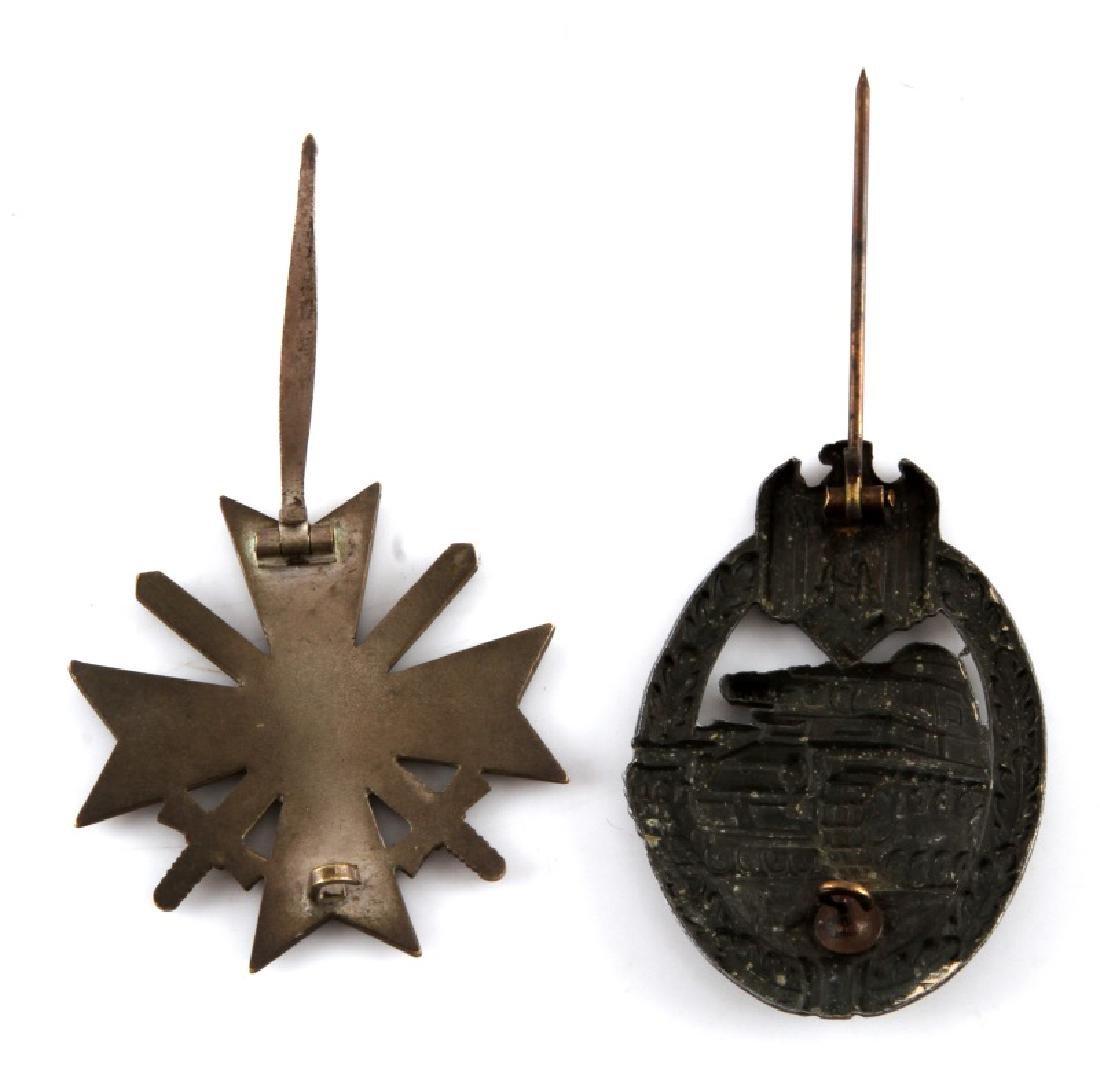WWII GERMAN PANZER ASSAULT BADGE & WAR MERIT CROSS - 2