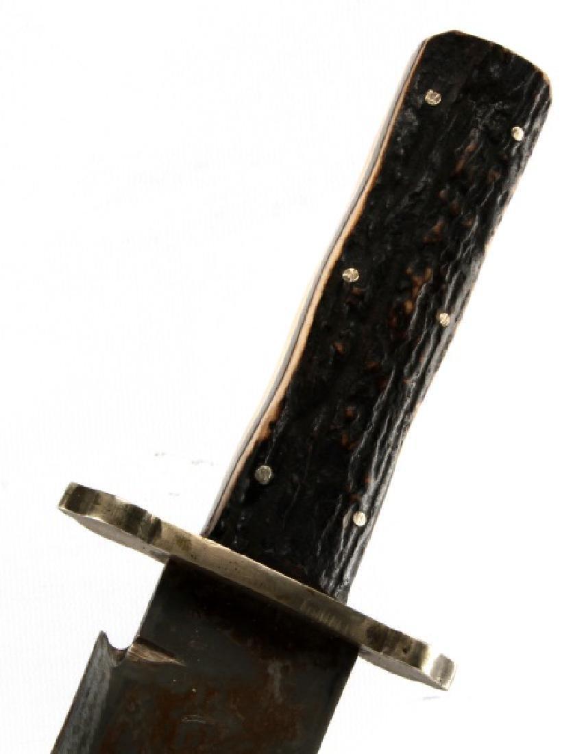 STAG HANDLE BOWIE KNIFE WITH COWBOY BOB SHEATH
