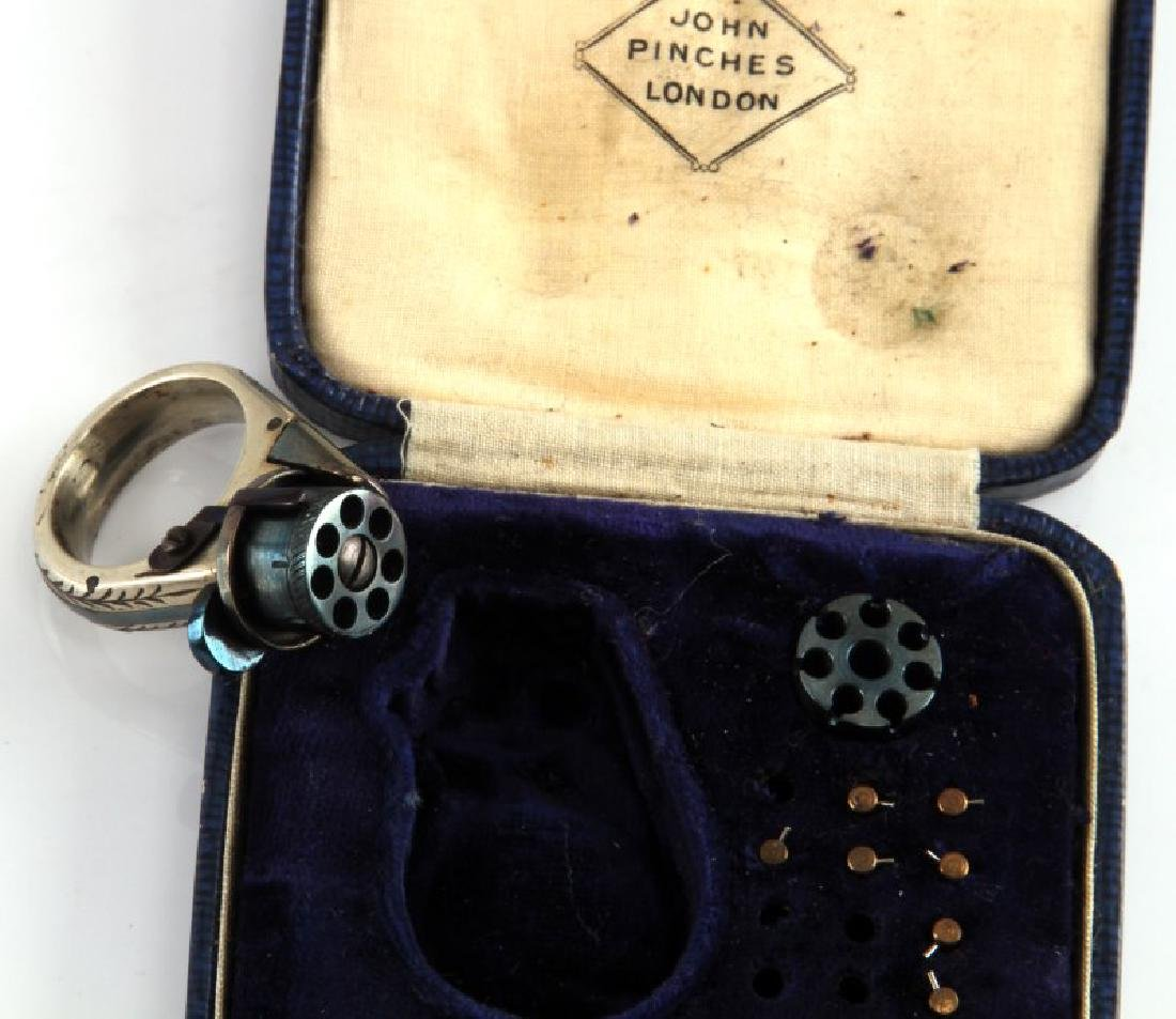 19TH C LA FEMME FATALE CASED REVOLVER RING GUN - 4