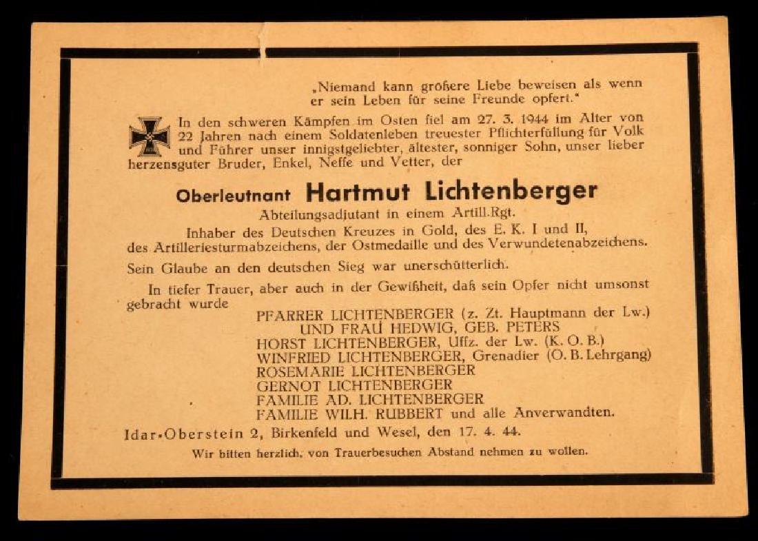 WWII GERMAN GOLD CROSS RECIPIENT DEATH CARD