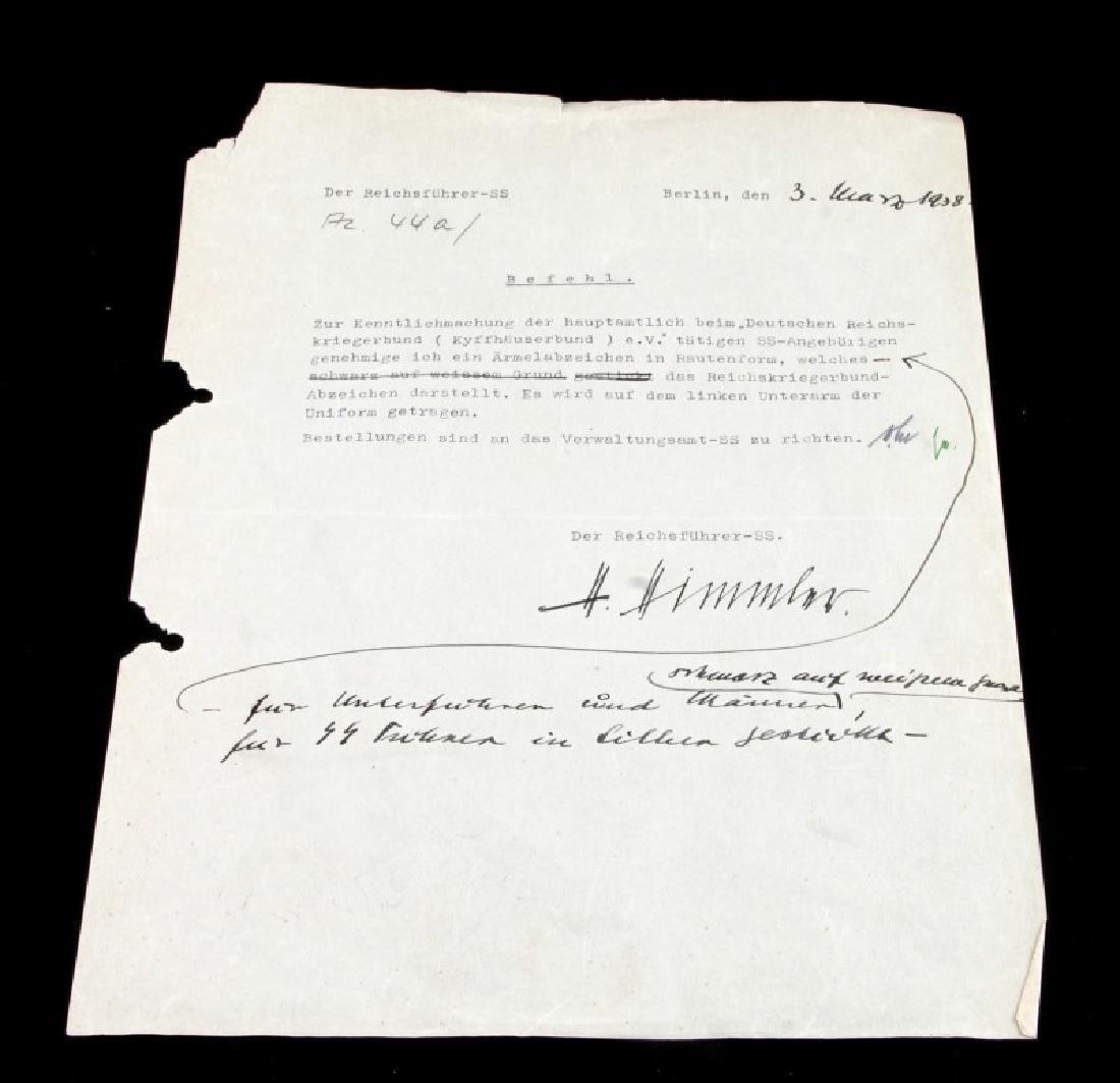 WWII GERMAN HEINRICH HIMMLER SIGNED DOCUMENT