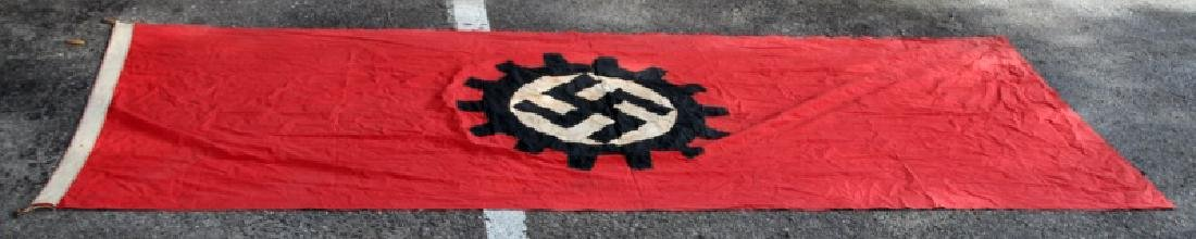 WWII GERMAN THIRD REICH LABOR FRONT COG BANNER