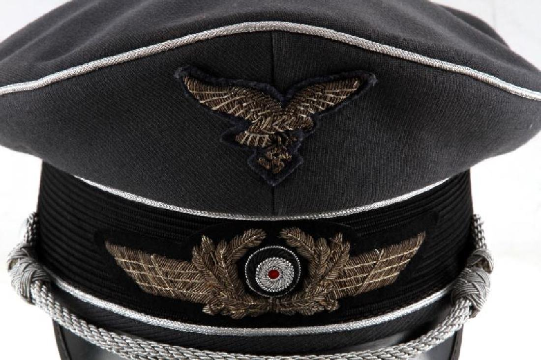 WWII GERMAN 3RD REICH LUFTWAFFE OFFICER VISOR CAP - 2