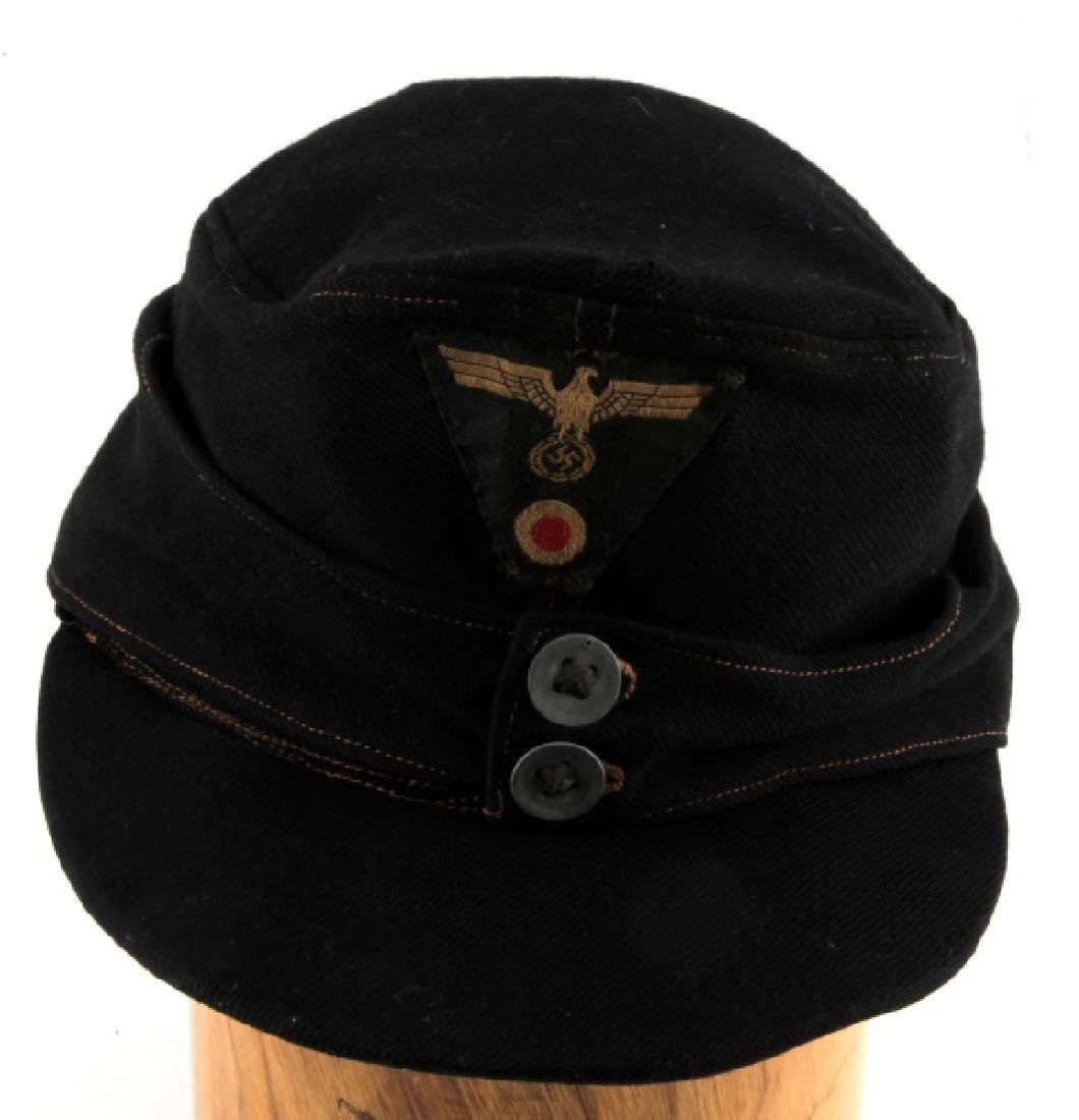 WWII GERMAN THIRD REICH BLACK WOOL M43 FIELD CAP
