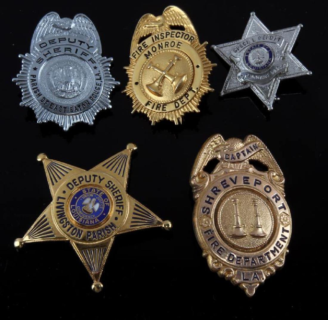 5 DIFFERENT LOUISIANA POLICE & FIRE VINTAGE BADGE