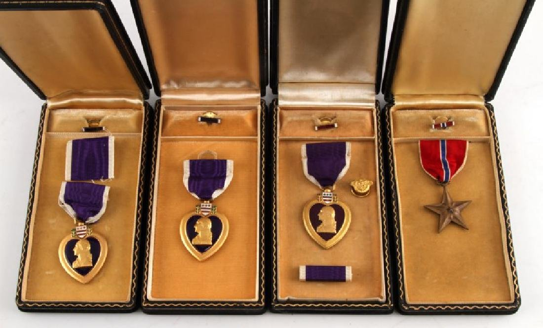 3 PURPLE HEART & 1 BRONZE STAR UNNAMED MEDAL LOT