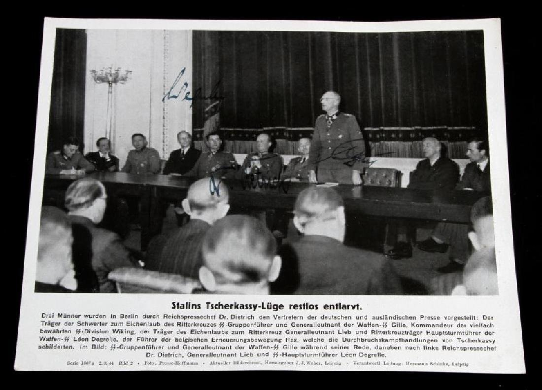 GERMAN WWII PRESS PHOTO W SEPP DIETRICH AUTOGRAPH