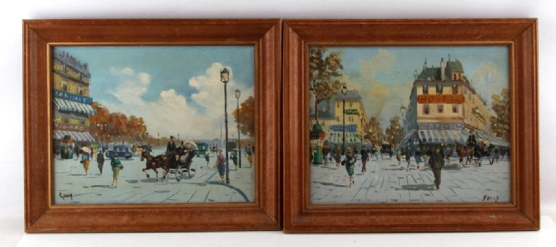 SET OF MID CENTURY FRENCH STREET SCENE PAINTINGS
