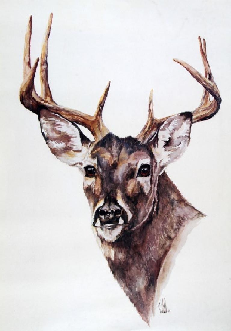 1982 HILL DEER WILDLIFE WATERCOLOR ART PRINT - 2